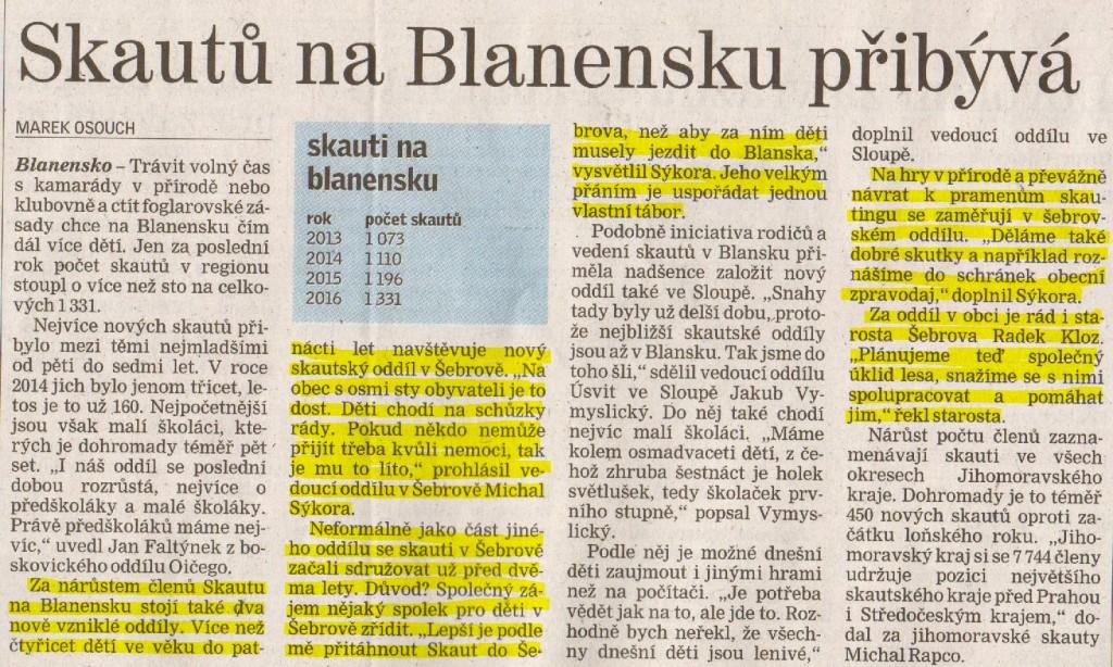 Skautů na Blanensku přibývá